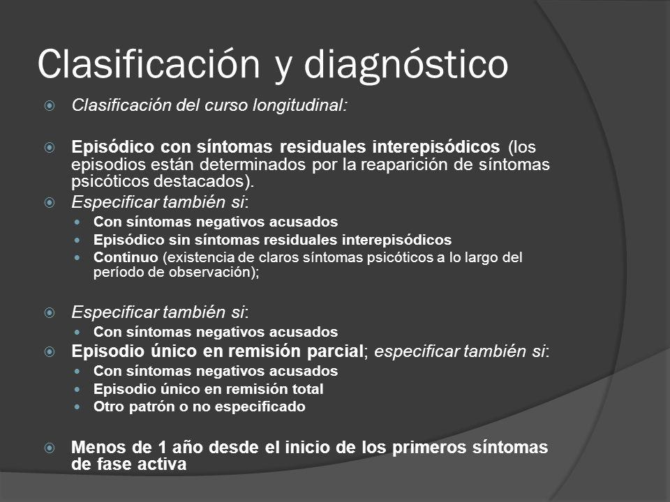 Clasificación y diagnóstico Clasificación del curso longitudinal: Episódico con síntomas residuales interepisódicos (los episodios están determinados por la reaparición de síntomas psicóticos destacados).