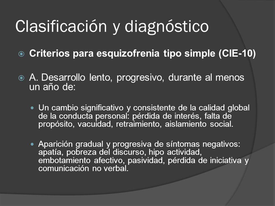 Clasificación y diagnóstico Criterios para esquizofrenia tipo simple (CIE-10) A.