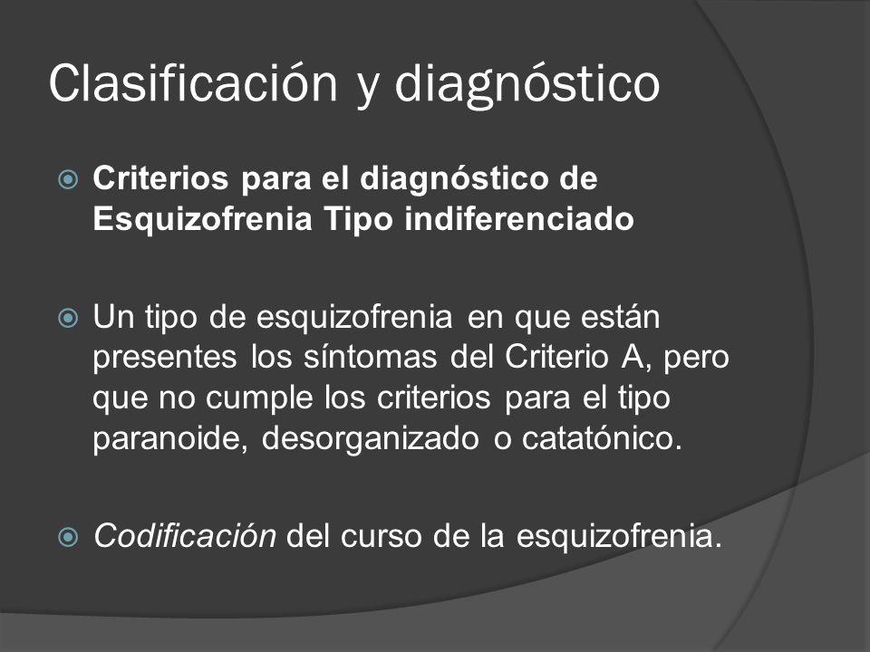 Clasificación y diagnóstico Criterios para el diagnóstico de Esquizofrenia Tipo indiferenciado Un tipo de esquizofrenia en que están presentes los síntomas del Criterio A, pero que no cumple los criterios para el tipo paranoide, desorganizado o catatónico.