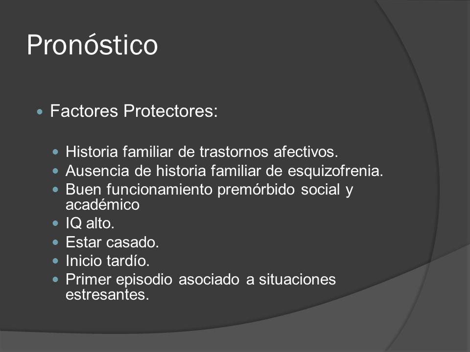 Pronóstico Factores Protectores: Historia familiar de trastornos afectivos.