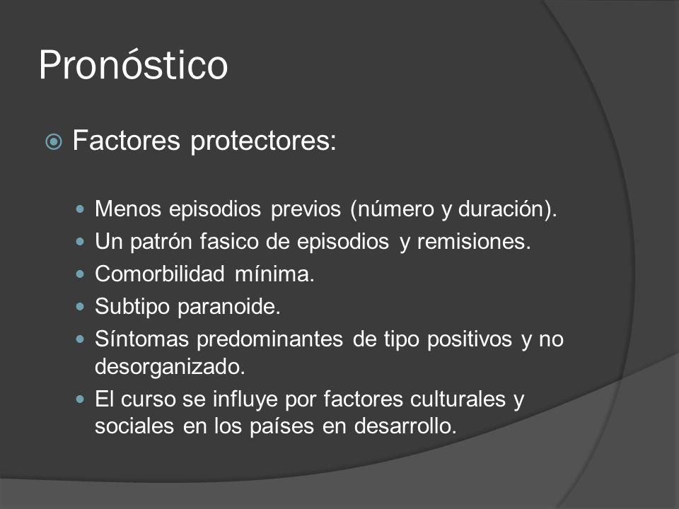 Pronóstico Factores protectores: Menos episodios previos (número y duración).
