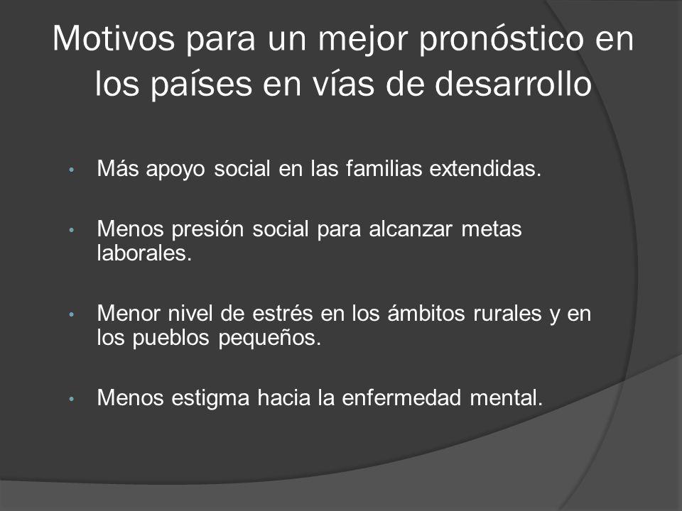 Motivos para un mejor pronóstico en los países en vías de desarrollo Más apoyo social en las familias extendidas.