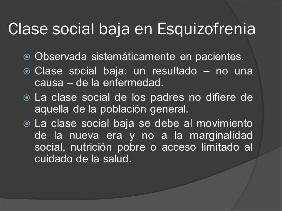 Clase social baja en Esquizofrenia Observada sistemáticamente en pacientes.