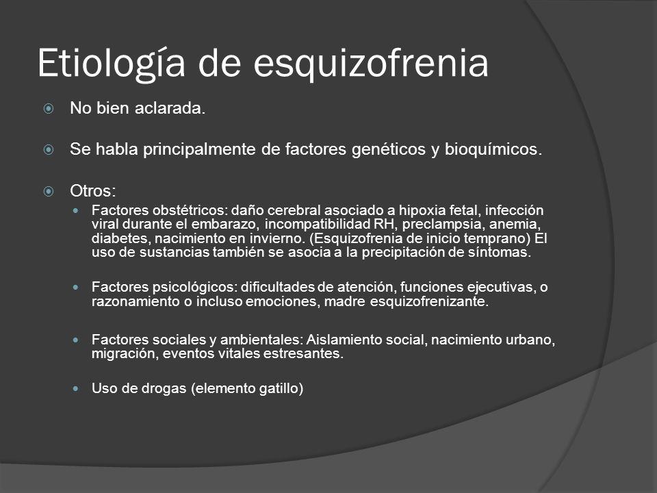Etiología de esquizofrenia No bien aclarada.