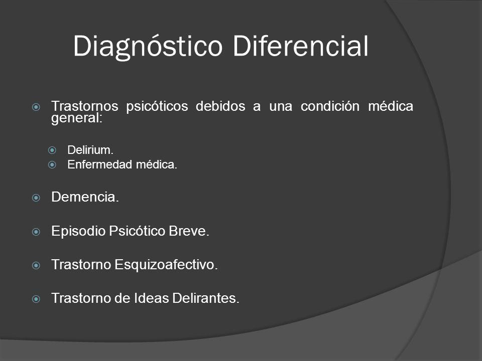 Diagnóstico Diferencial Trastornos psicóticos debidos a una condición médica general: Delirium.