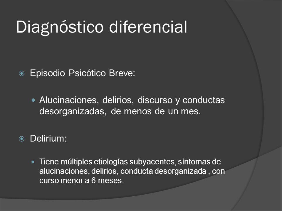 Diagnóstico diferencial Episodio Psicótico Breve: Alucinaciones, delirios, discurso y conductas desorganizadas, de menos de un mes.