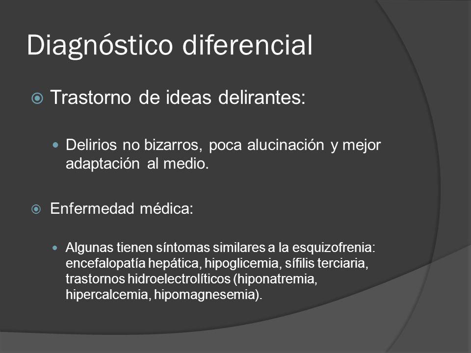 Diagnóstico diferencial Trastorno de ideas delirantes: Delirios no bizarros, poca alucinación y mejor adaptación al medio.