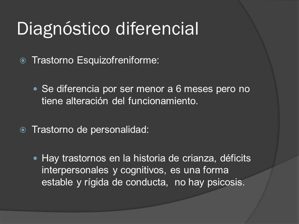 Diagnóstico diferencial Trastorno Esquizofreniforme: Se diferencia por ser menor a 6 meses pero no tiene alteración del funcionamiento.