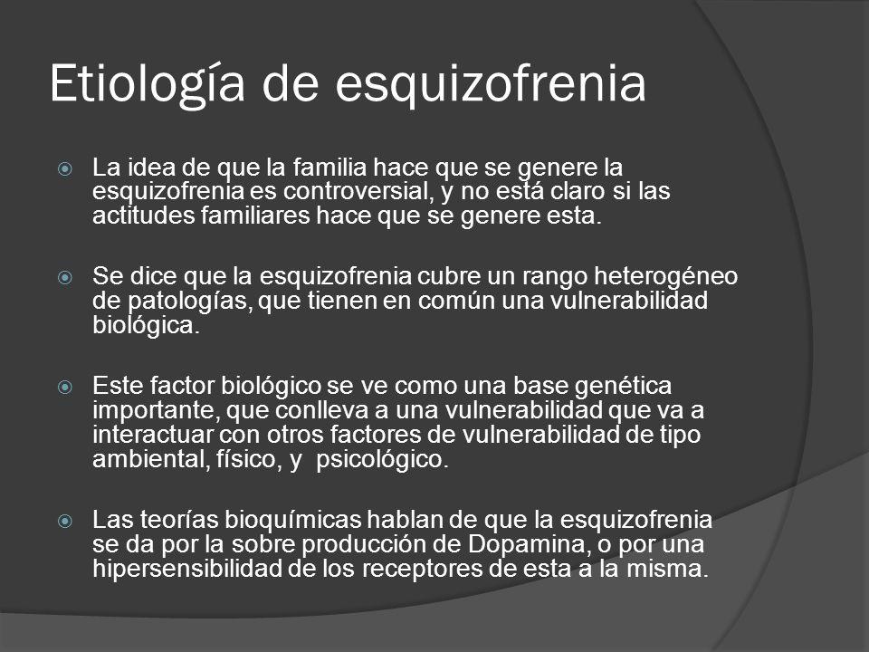 Etiología de esquizofrenia El modelo actual lo que habla es de una relación estrés vulnerabilidad, donde hay personas con una vulnerabilidad que se enfrenta a un estrés dado y se da por tanto la enfermedad.