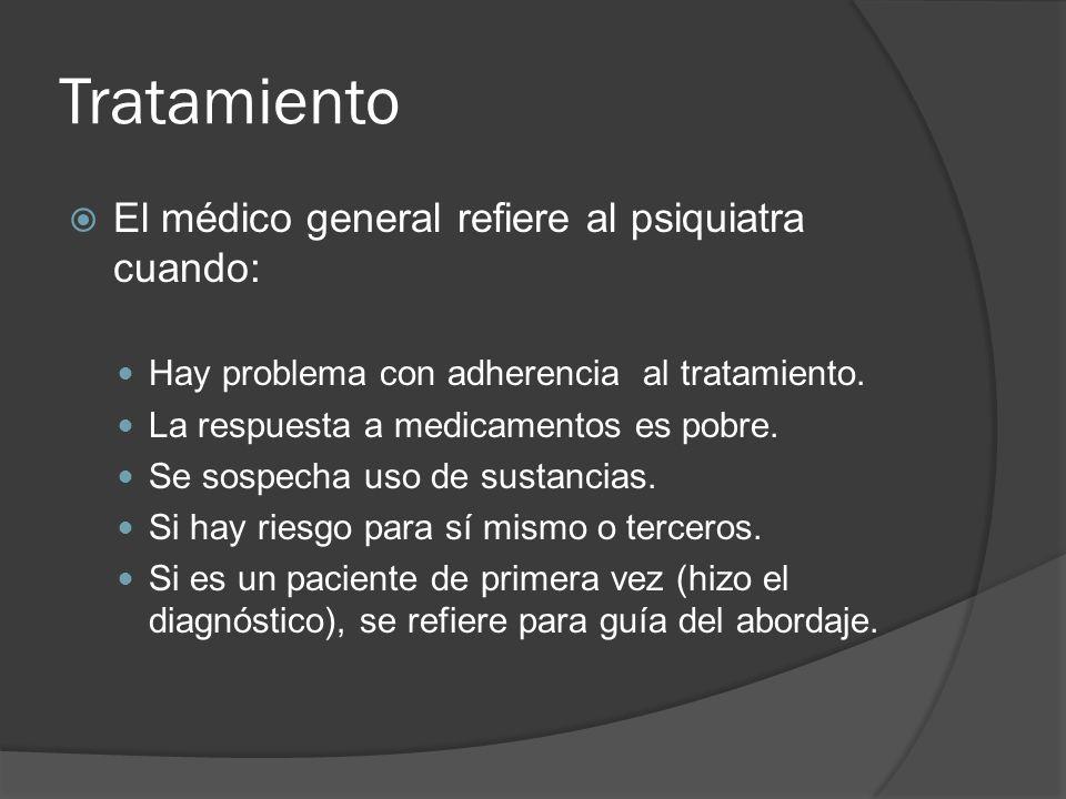 Tratamiento El médico general refiere al psiquiatra cuando: Hay problema con adherencia al tratamiento.