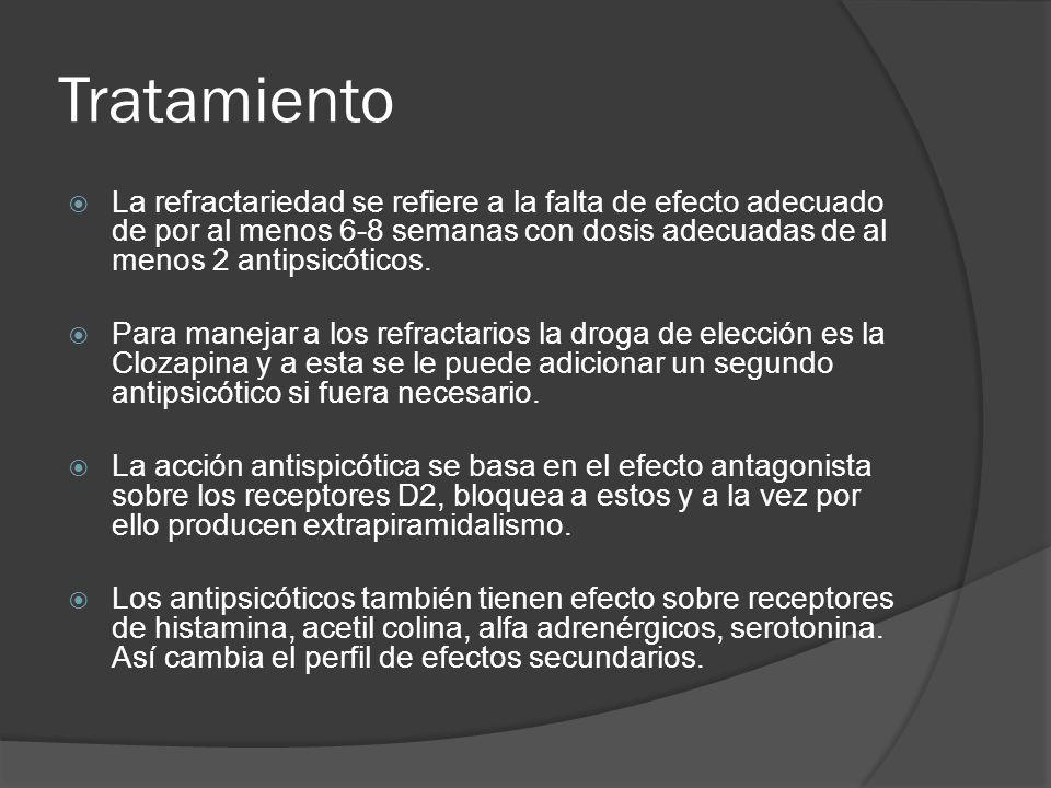 Tratamiento La refractariedad se refiere a la falta de efecto adecuado de por al menos 6-8 semanas con dosis adecuadas de al menos 2 antipsicóticos.
