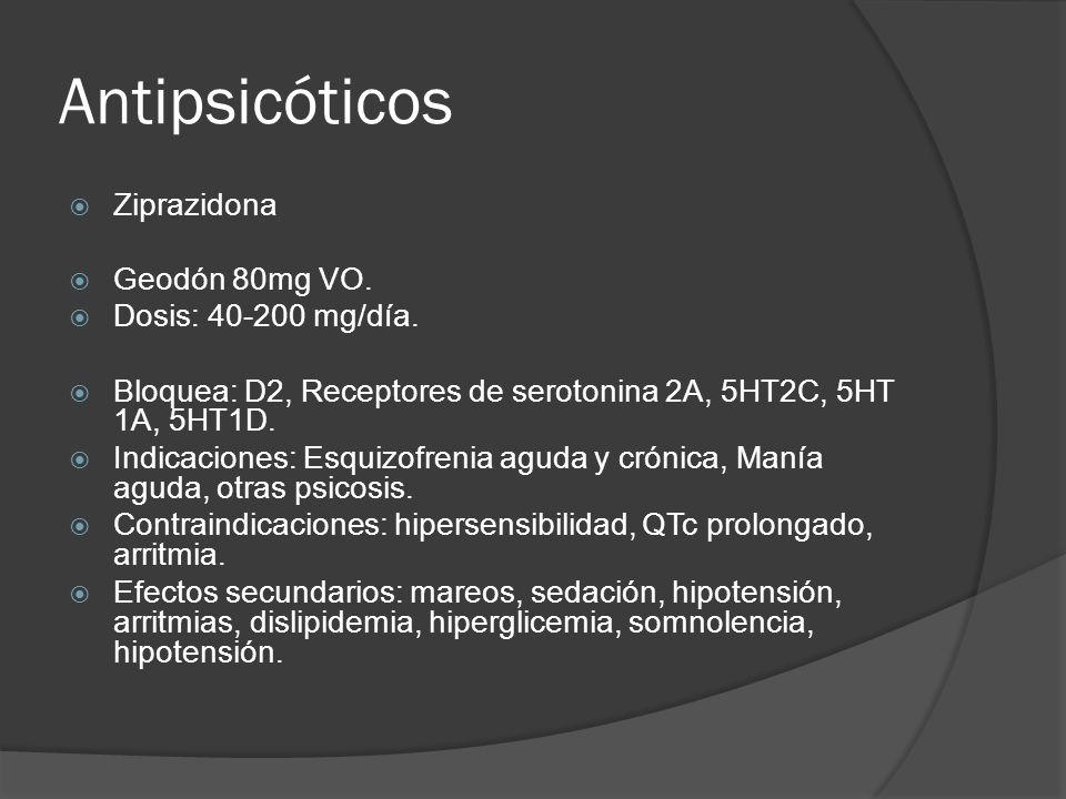 Antipsicóticos Ziprazidona Geodón 80mg VO.Dosis: 40-200 mg/día.