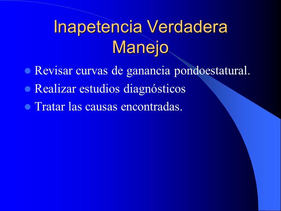 Inapetencia Verdadera Manejo Revisar curvas de ganancia pondoestatural. Realizar estudios diagnósticos Tratar las causas encontradas.