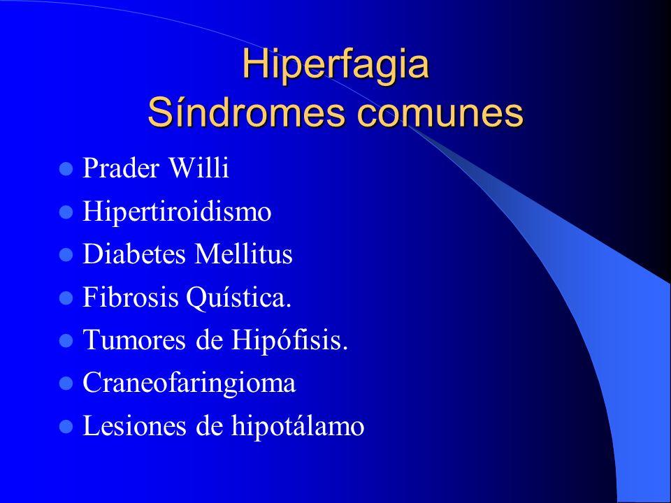 Hiperfagia Síndromes comunes Prader Willi Hipertiroidismo Diabetes Mellitus Fibrosis Quística. Tumores de Hipófisis. Craneofaringioma Lesiones de hipo