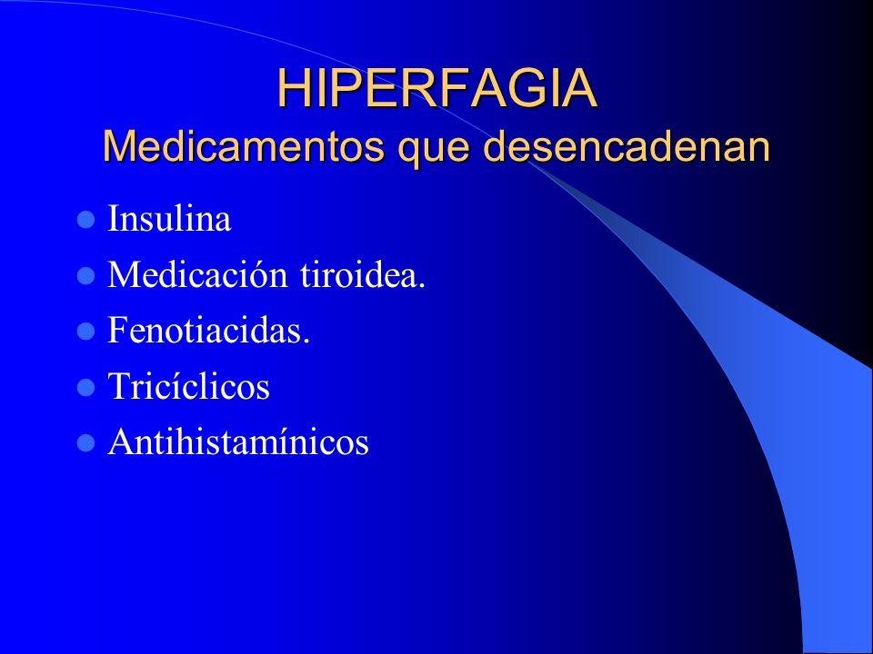HIPERFAGIA Medicamentos que desencadenan Insulina Medicación tiroidea. Fenotiacidas. Tricíclicos Antihistamínicos