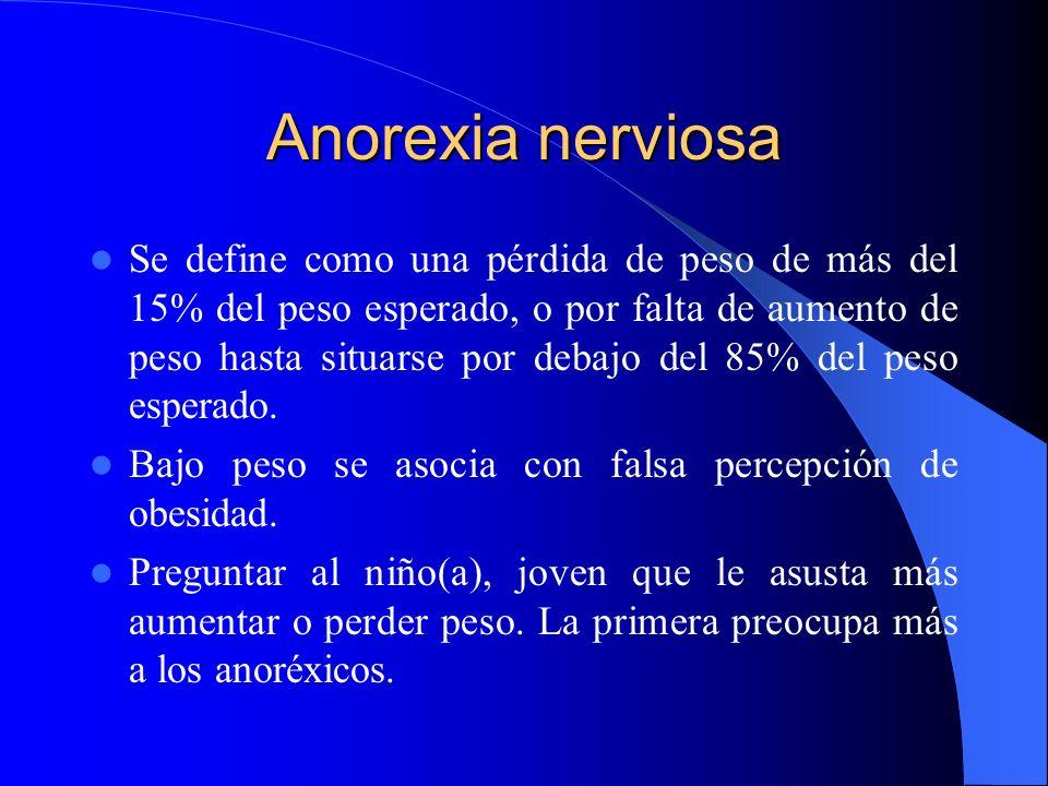 Anorexia nerviosa Se define como una pérdida de peso de más del 15% del peso esperado, o por falta de aumento de peso hasta situarse por debajo del 85