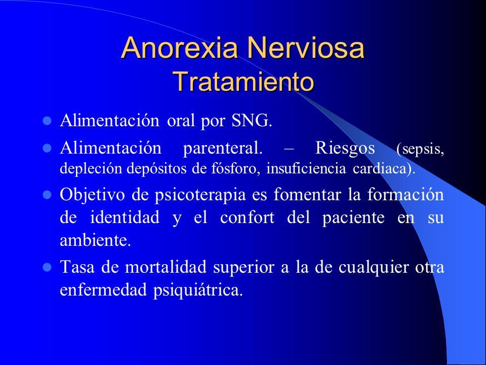 Anorexia Nerviosa Tratamiento Alimentación oral por SNG. Alimentación parenteral. – Riesgos (sepsis, depleción depósitos de fósforo, insuficiencia car