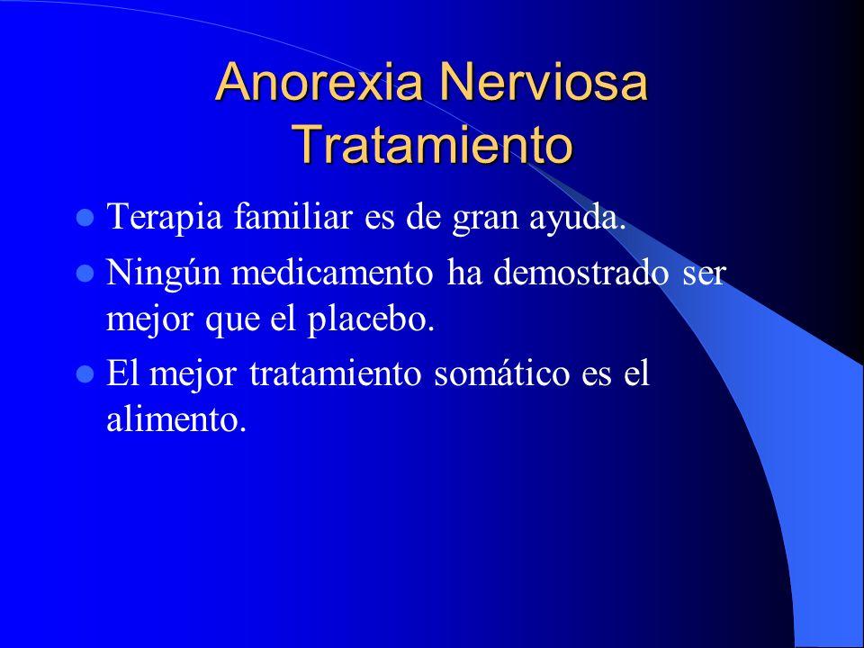 Anorexia Nerviosa Tratamiento Terapia familiar es de gran ayuda. Ningún medicamento ha demostrado ser mejor que el placebo. El mejor tratamiento somát