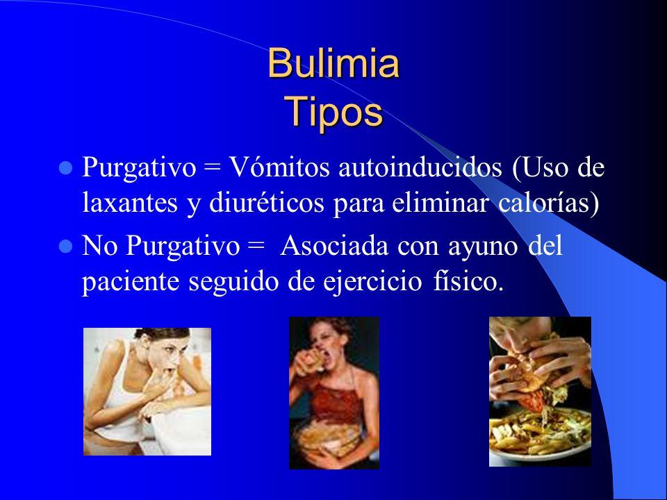 Bulimia Tipos Purgativo = Vómitos autoinducidos (Uso de laxantes y diuréticos para eliminar calorías) No Purgativo = Asociada con ayuno del paciente s