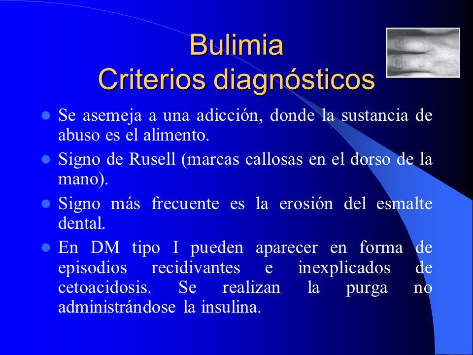 Bulimia Criterios diagnósticos Se asemeja a una adicción, donde la sustancia de abuso es el alimento. Signo de Rusell (marcas callosas en el dorso de
