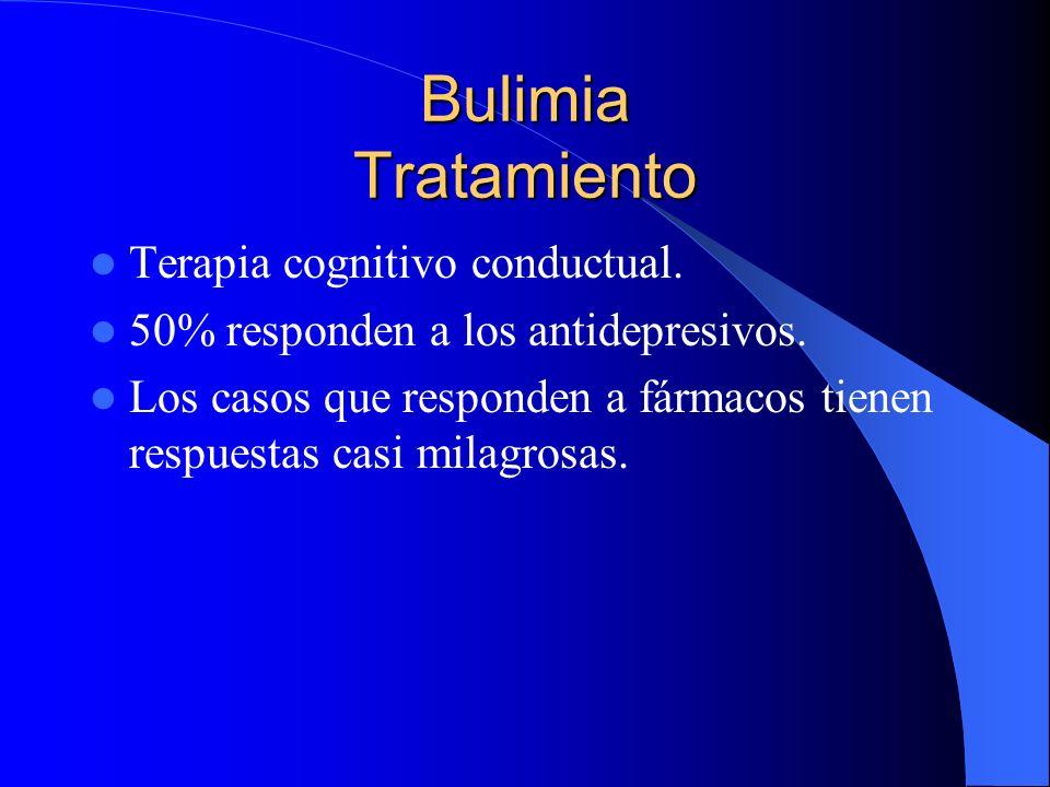 Bulimia Tratamiento Terapia cognitivo conductual. 50% responden a los antidepresivos. Los casos que responden a fármacos tienen respuestas casi milagr