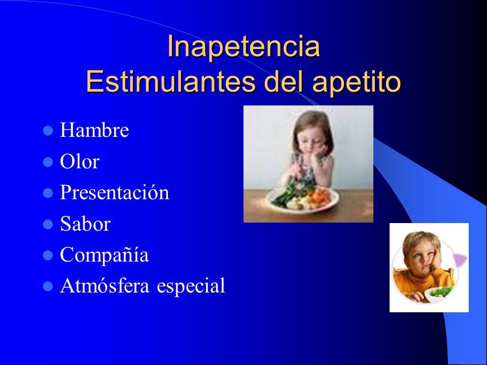Inapetencia Estimulantes del apetito Hambre Olor Presentación Sabor Compañía Atmósfera especial