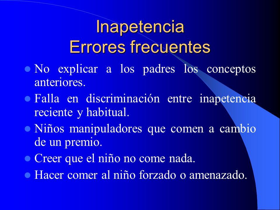 Inapetencia Errores frecuentes No explicar a los padres los conceptos anteriores. Falla en discriminación entre inapetencia reciente y habitual. Niños