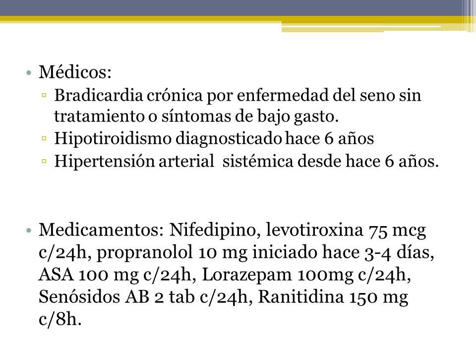 Médicos: Bradicardia crónica por enfermedad del seno sin tratamiento o síntomas de bajo gasto. Hipotiroidismo diagnosticado hace 6 años Hipertensión a