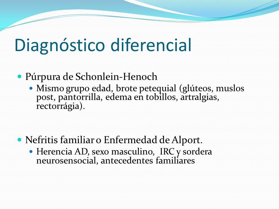 Diagnóstico diferencial Púrpura de Schonlein-Henoch Mismo grupo edad, brote petequial (glúteos, muslos post, pantorrilla, edema en tobillos, artralgia