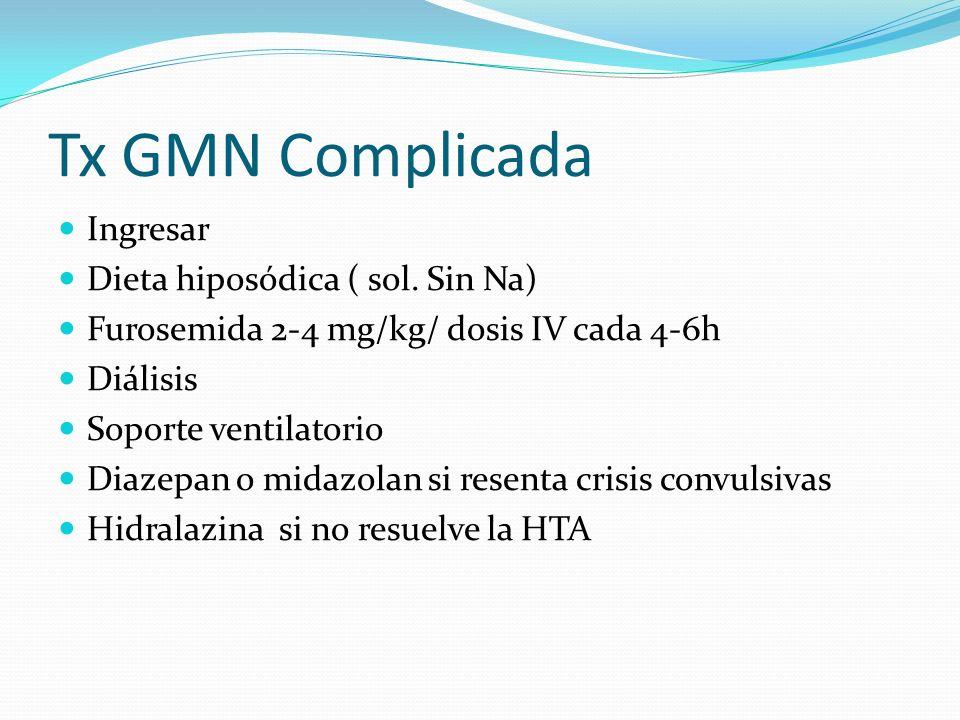Tx GMN Complicada Ingresar Dieta hiposódica ( sol. Sin Na) Furosemida 2-4 mg/kg/ dosis IV cada 4-6h Diálisis Soporte ventilatorio Diazepan o midazolan