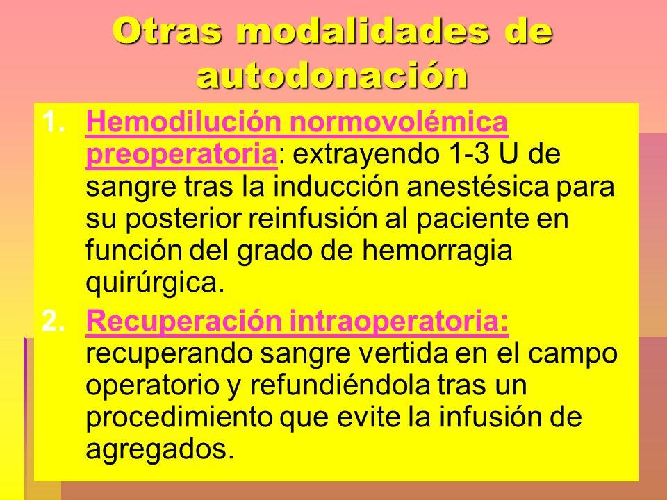 Otras modalidades de autodonación 1. 1.Hemodilución normovolémica preoperatoria: extrayendo 1-3 U de sangre tras la inducción anestésica para su poste