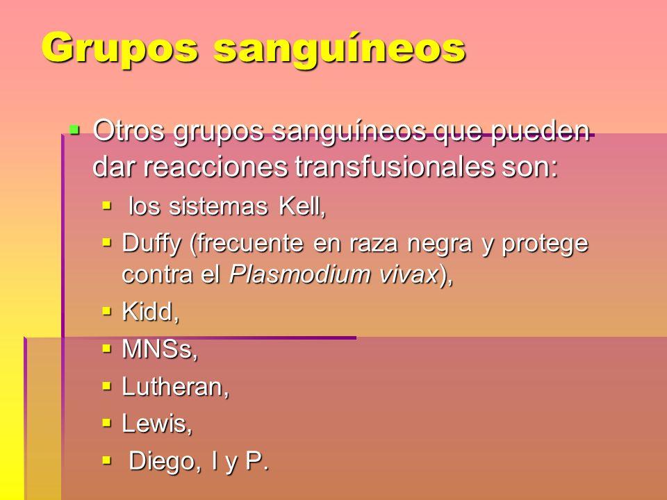 Grupos sanguíneos Otros grupos sanguíneos que pueden dar reacciones transfusionales son: Otros grupos sanguíneos que pueden dar reacciones transfusion