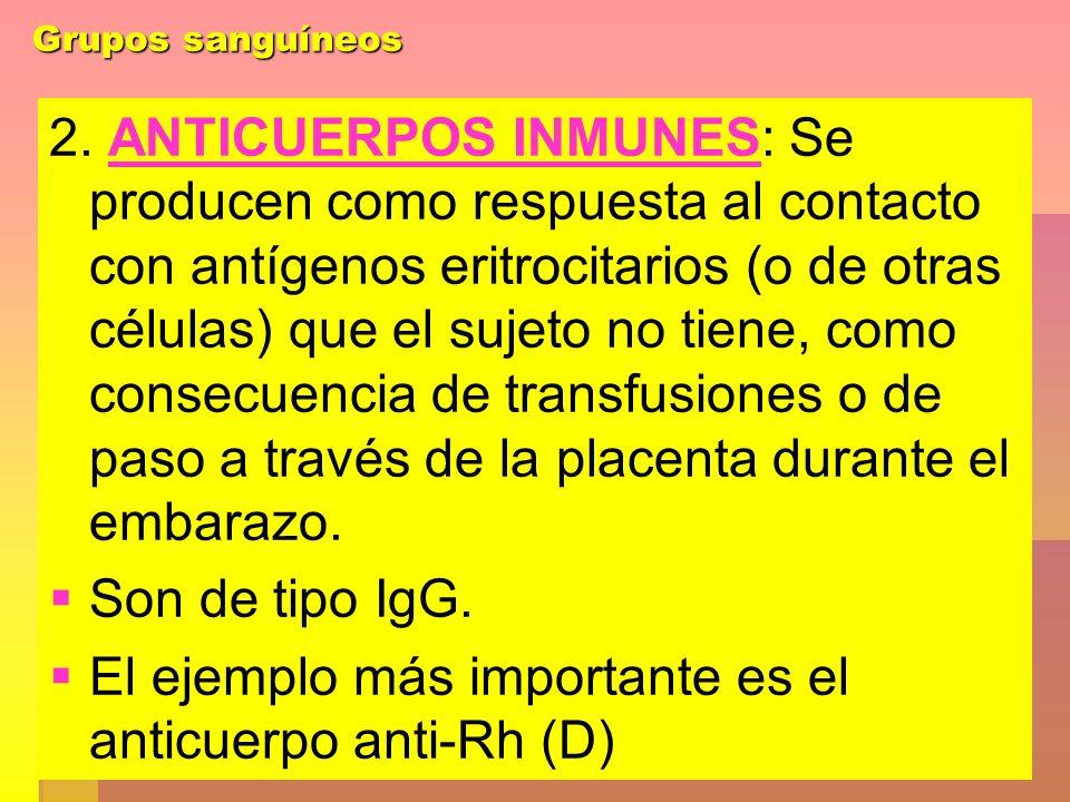 Grupos sanguíneos 2. ANTICUERPOS INMUNES: Se producen como respuesta al contacto con antígenos eritrocitarios (o de otras células) que el sujeto no ti