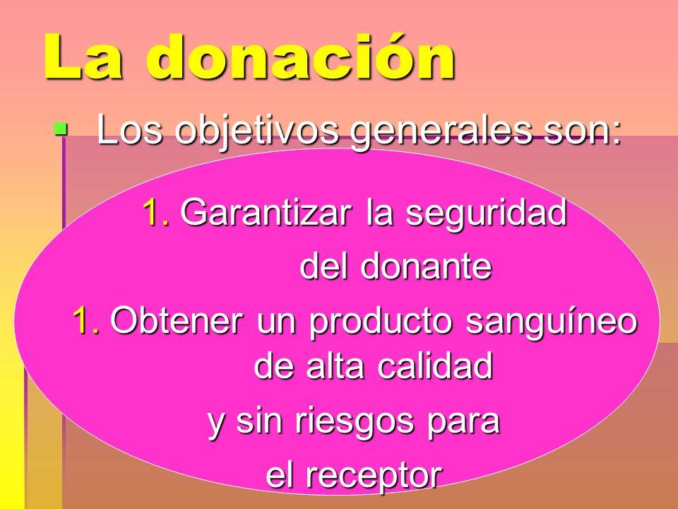 La donación Los objetivos generales son: Los objetivos generales son: 1.Garantizar la seguridad del donante del donante 1.Obtener un producto sanguíne
