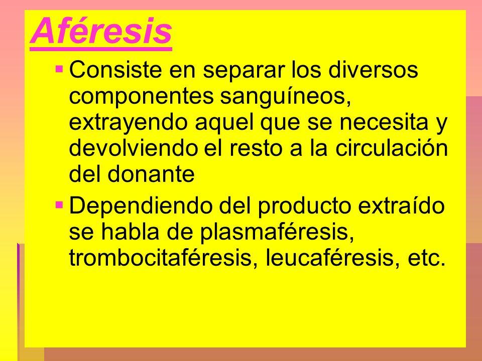 Aféresis Consiste en separar los diversos componentes sanguíneos, extrayendo aquel que se necesita y devolviendo el resto a la circulación del donante
