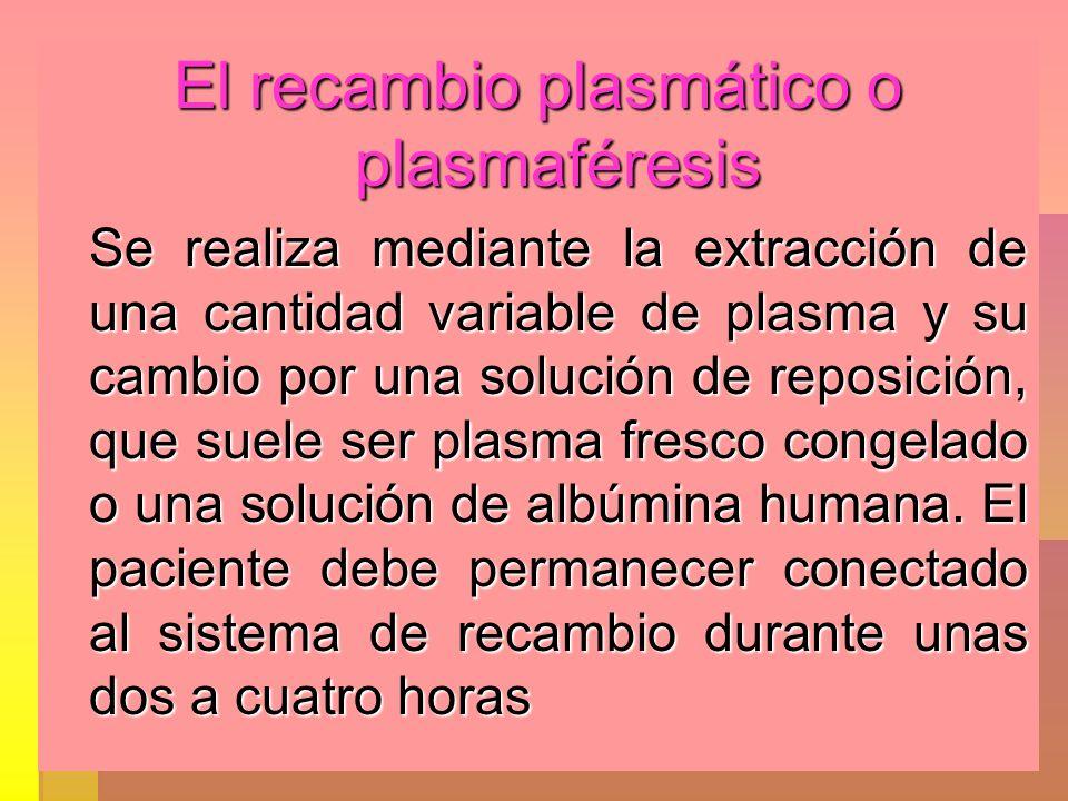 El recambio plasmático o plasmaféresis Se realiza mediante la extracción de una cantidad variable de plasma y su cambio por una solución de reposición