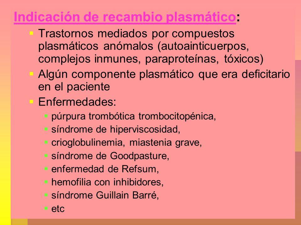 Indicación de recambio plasmático: Trastornos mediados por compuestos plasmáticos anómalos (autoainticuerpos, complejos inmunes, paraproteínas, tóxico