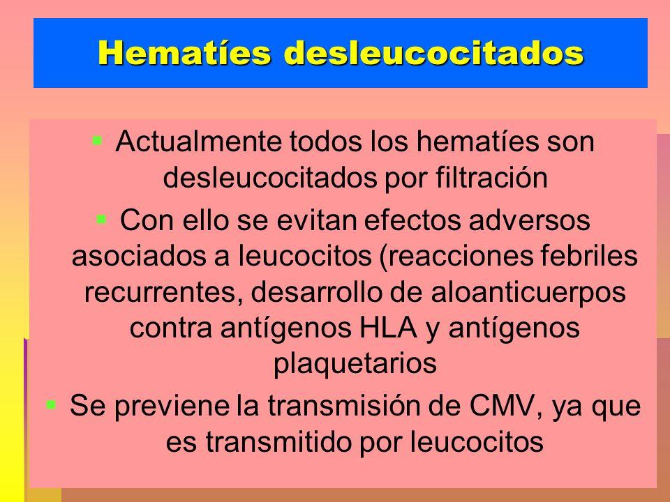 Hematíes desleucocitados Actualmente todos los hematíes son desleucocitados por filtración Con ello se evitan efectos adversos asociados a leucocitos