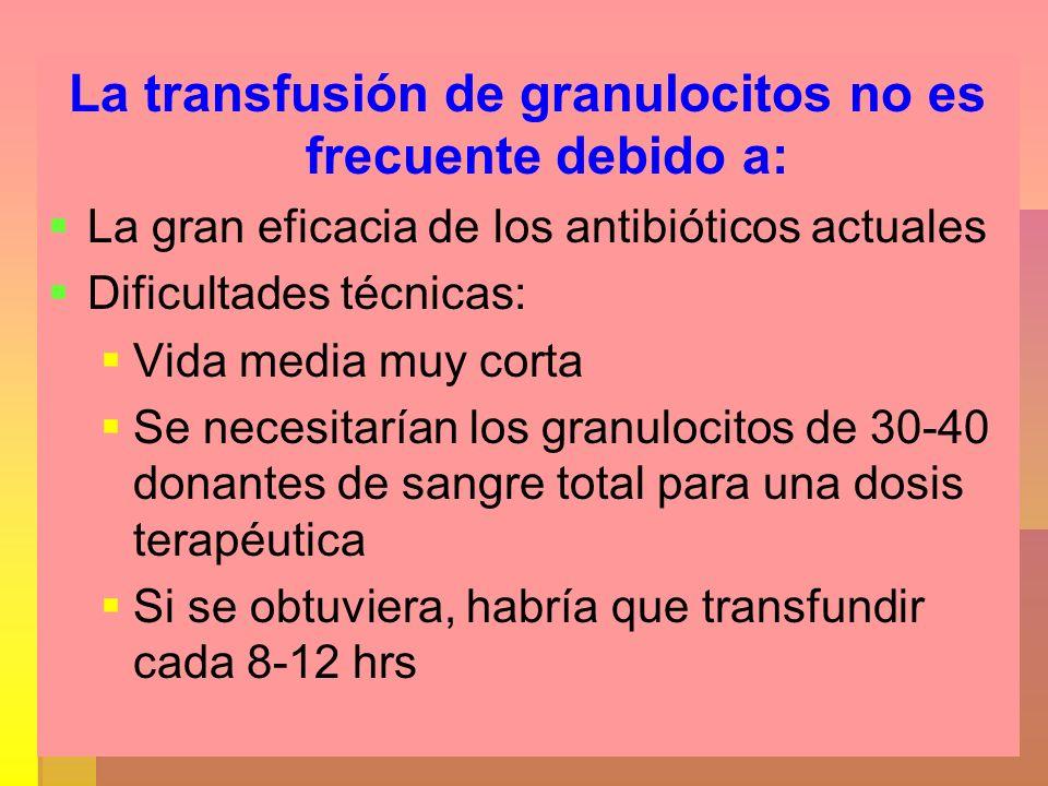 La transfusión de granulocitos no es frecuente debido a: La gran eficacia de los antibióticos actuales Dificultades técnicas: Vida media muy corta Se