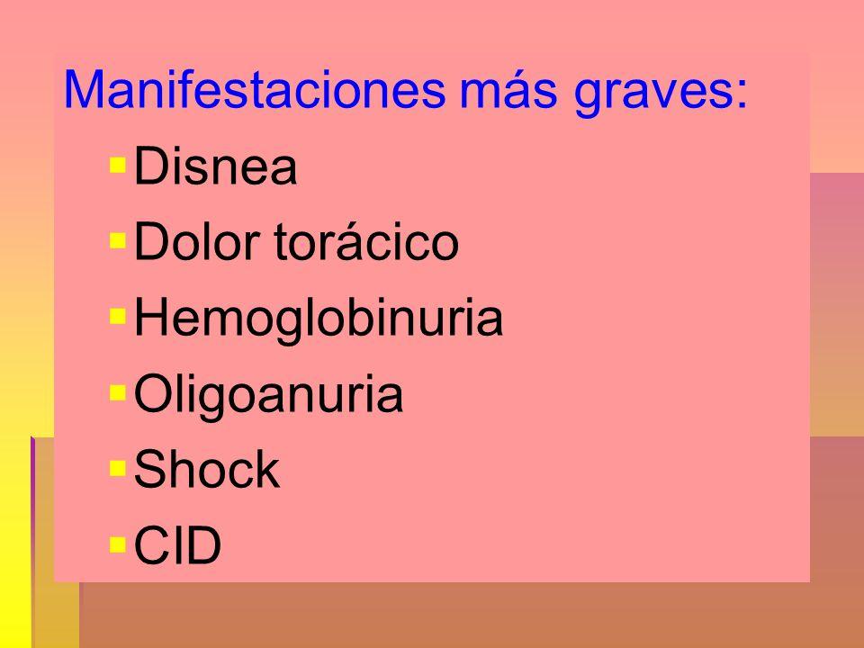Manifestaciones más graves: Disnea Dolor torácico Hemoglobinuria Oligoanuria Shock CID