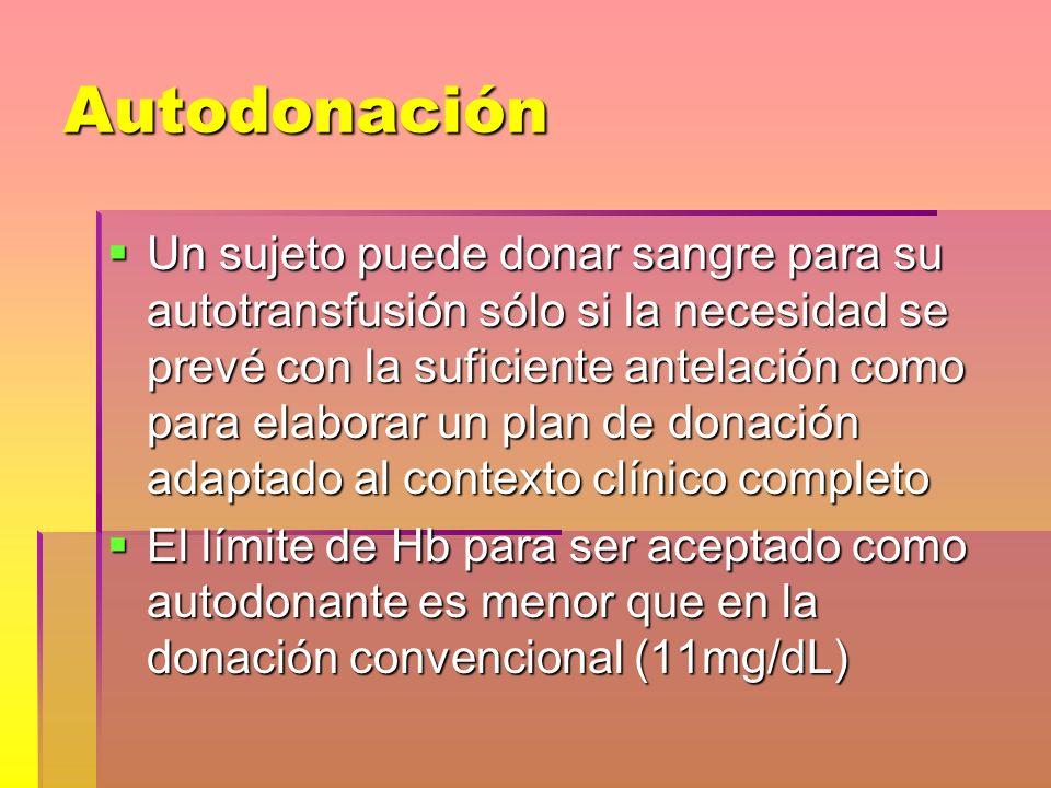 Autodonación El paciente puede recibir eritropoyetina y suplementos de hierro (si es preciso) para conseguir el número de unidades necesarias El paciente puede recibir eritropoyetina y suplementos de hierro (si es preciso) para conseguir el número de unidades necesarias