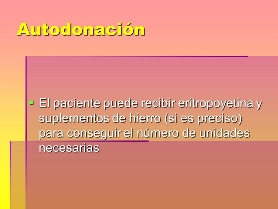 Autodonación El paciente puede recibir eritropoyetina y suplementos de hierro (si es preciso) para conseguir el número de unidades necesarias El pacie