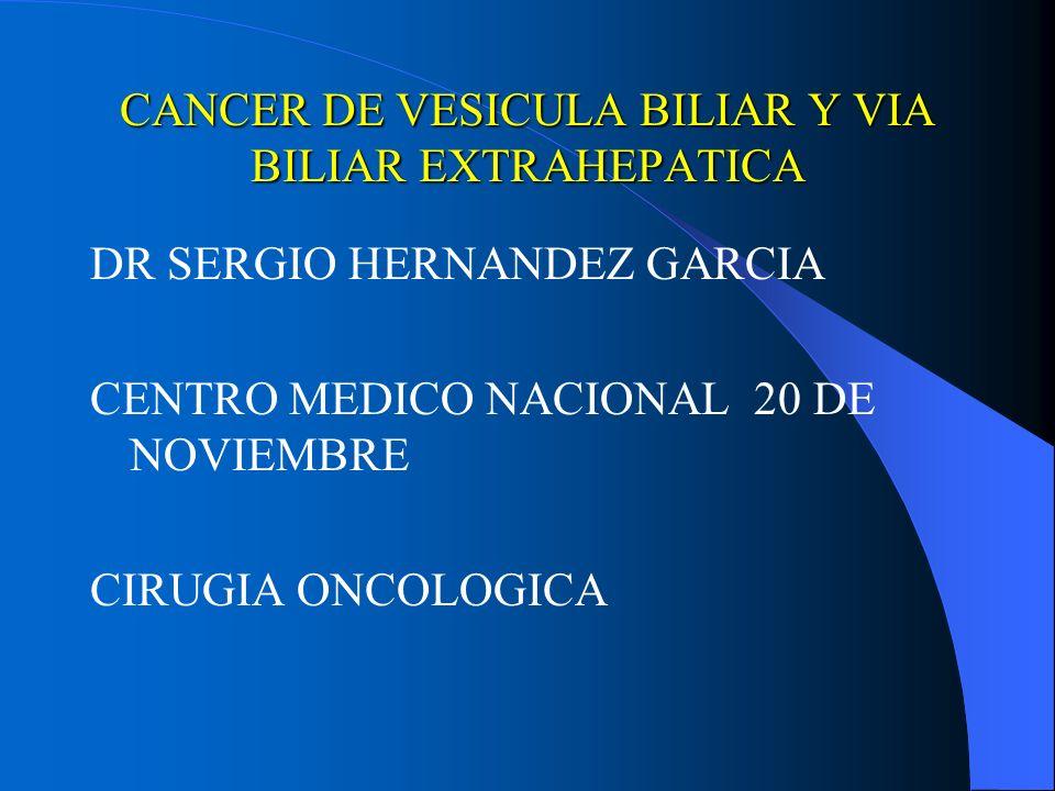CANCER DE VESICULA BILIAR Y VIA BILIAR EXTRAHEPATICA DR SERGIO HERNANDEZ GARCIA CENTRO MEDICO NACIONAL 20 DE NOVIEMBRE CIRUGIA ONCOLOGICA