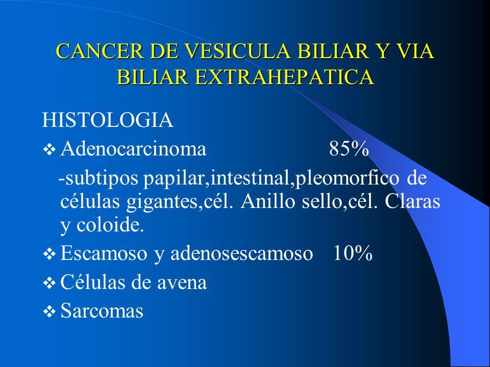 CANCER DE VESICULA BILIAR Y VIA BILIAR EXTRAHEPATICA HISTOLOGIA Adenocarcinoma 85% -subtipos papilar,intestinal,pleomorfico de células gigantes,cél. A