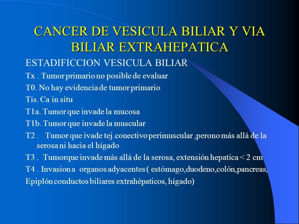 CANCER DE VESICULA BILIAR Y VIA BILIAR EXTRAHEPATICA ESTADIFICCION VESICULA BILIAR Tx. Tumor primario no posible de evaluar T0. No hay evidencia de tu