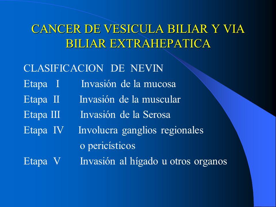 CANCER DE VESICULA BILIAR Y VIA BILIAR EXTRAHEPATICA CLASIFICACION DE NEVIN Etapa I Invasión de la mucosa Etapa II Invasión de la muscular Etapa III I