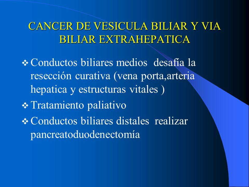 CANCER DE VESICULA BILIAR Y VIA BILIAR EXTRAHEPATICA Conductos biliares medios desafía la resección curativa (vena porta,arteria hepatica y estructura