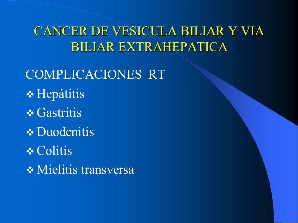 CANCER DE VESICULA BILIAR Y VIA BILIAR EXTRAHEPATICA COMPLICACIONES RT Hepátitis Gastritis Duodenitis Colitis Mielitis transversa