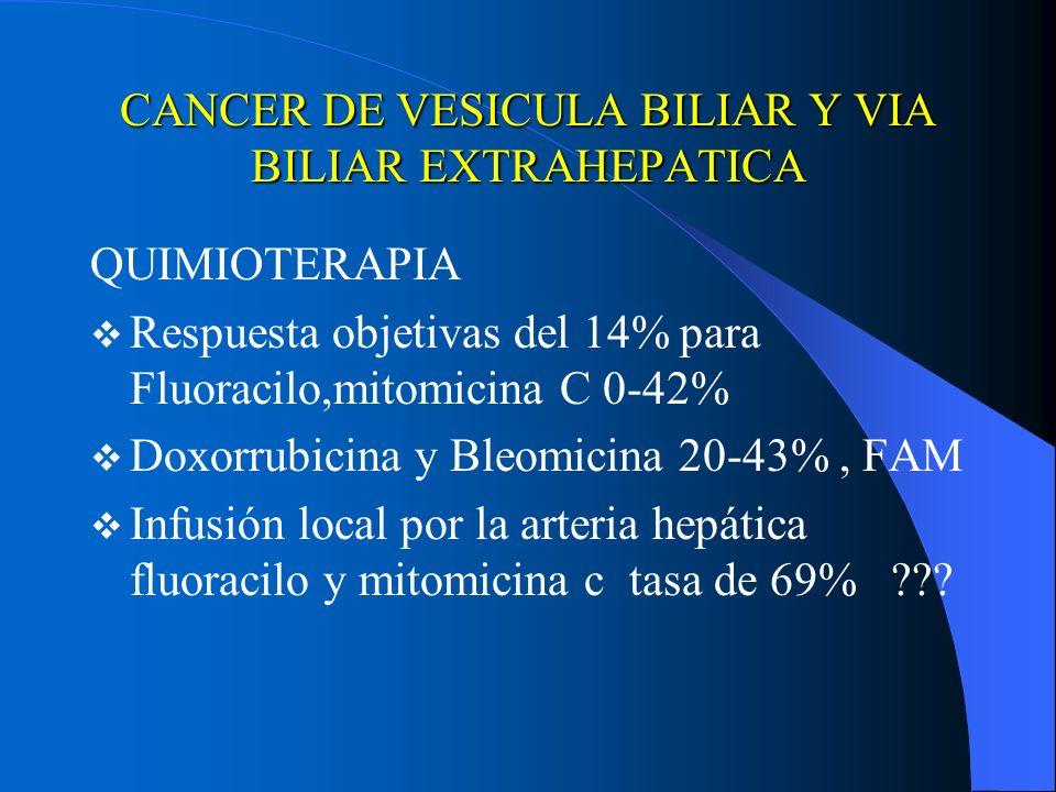 CANCER DE VESICULA BILIAR Y VIA BILIAR EXTRAHEPATICA QUIMIOTERAPIA Respuesta objetivas del 14% para Fluoracilo,mitomicina C 0-42% Doxorrubicina y Bleo