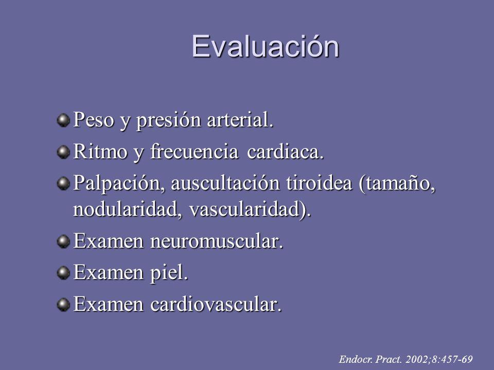 Evaluación Peso y presión arterial. Ritmo y frecuencia cardiaca. Palpación, auscultación tiroidea (tamaño, nodularidad, vascularidad). Examen neuromus